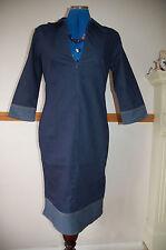 Denim Wiggle Dress 3/4 Sleeve Collar Zip Bust Contrast Hem Cuffs NEW Sz 10