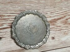 Vtg Dollhouse Pewter Serving Plate Mini Metal Doll Colonial Primitive Signed