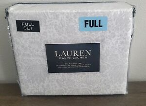 Ralph Lauren White Gray Paisley Floral Full Sheet Set 4pc