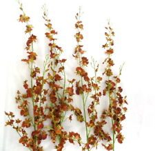 Künstliche Seidenblumen Orchideen Braun Rost 4 Zweige 100 cm Dekoration Top !