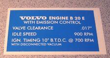 Volvo 1800 1800E B20E Valve Cover Emission settings restoration decal