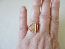 Golden Rutilated Quartz Rose Gold over Sterling Silv Ring (Sz 7) TGW 4.00 cts.