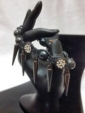 Spike Design Punk Rock Black Strand String Bracelet Crystal Ball New