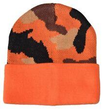 G Men's Camouflage Knitted Beanie Hat Orange Camo