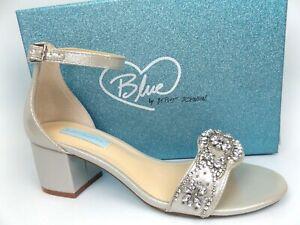 Betsey Johnson SB-MEL Women's Heeled Sandal, SZ 9.0 WIDE, Silver, NEW,  16759