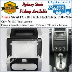 For 10 Ten Inch Screen Fascia Fits Nissan XTrail T31 (Black/Silver) 2007-2014