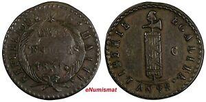HAITI Copper 1831 // AN 28  2 Centimes Ex.Wolfgang Schuster Coll.KM# A22(17 550)