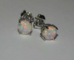 Gorgeous White Fire Opal Stud Earrings 6mm