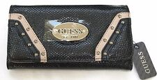 NEW GUESS GULFPORT BLACK+WHITE+TAN TRIM & SILVER TONE STUDS WALLET,CLUTCH