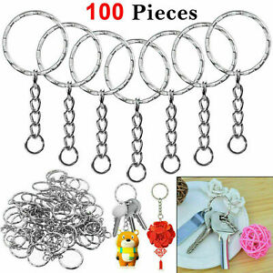 100 pcs Silver Keyring Blank Tone Key Chains Split Rings For Link Chain UK-Boxed