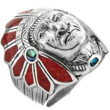 Mens Heavy Native American Indian Chief Red Coral Biker 925 Sterling Silver Ring