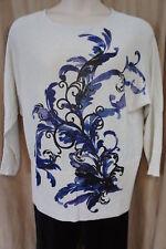 Alfani Metallic Gray Scoop Neck Sweater Dolman Sleeve 3/4 Sz XL