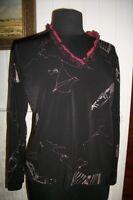 Chemisier tee shirt polyester noir stretch LEWINGER col V dentelle T.2 40/42