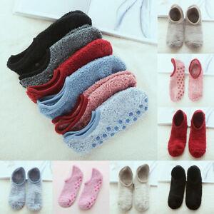Women Men Low Cut Winter Warm Home Non Slip Fleece Floor Slippers Bed Socks