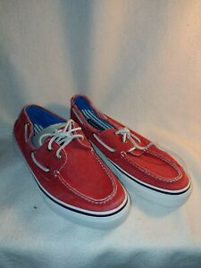 Men Sperry Top-Sider  Bahama Red Blue Canvas Boat Shoes Size 10.5 1048552
