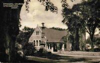 Episcopal Church Stockbridge Mass MA Vintage Collotype Photo Sepia Postcard