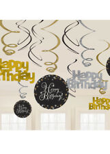 Gold and Black Happy Birthday Swirl Decorations