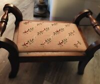 Vintage Victorian Wooden Footstool Blue Needlepoint Floral Top