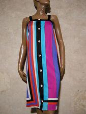 CHIC VINTAGE ROBE RAYéE 1970 VTG DRESS 1970s STRIPE KLEID 70er ABITO (38/40)
