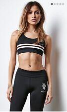 CIVIL FIERCE New Women's Contrast Striped Black Sports Bra Athletic Top Size XS