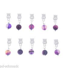 PD: 20 European Versilbert Lila Achat Dangle Perlen Beads 25x8mm