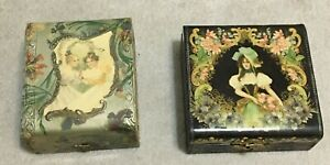 2 Antique Vintage Victorian Era Celluloid Trinket Jewelry Shaving Boxes, C1900