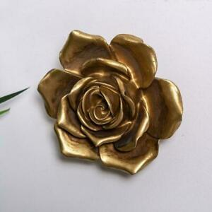 Large Gold Rose Wall Art Hanging Freestanding Vintage Home Chic Decoration Resin