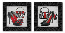 NEW Exotic Zebra Print Purse and High-Heel Set; Two 12x12in Paper Posters