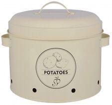 Kartoffeltopf Dose Gefäß mit Deckel Kartoffellager Potatoes Karbonstahl creme