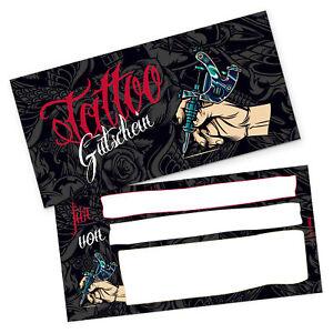 itenga Geschenk Gutschein Tattoo Postkarte zum Ausfüllen Geschenkkarte 21x10,5cm