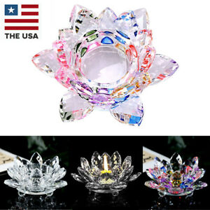 7Colors Crystal Glass Lotus Flower Candle Tea Light Holder Buddhist Candle Decor