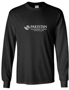 Pakistan International Airlines PIA White Logo Black Cotton Long Sleeve T-Shirt