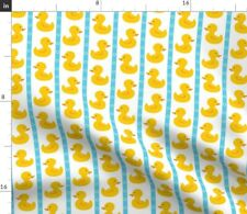 Yellow Duckies Rubber Duck Baby Nursery Blue Fabric Printed by Spoonflower BTY