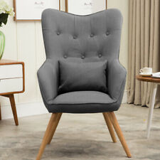Wing Backed Occasional Accent Chair Armchair Grey Linen Fabric Lounge High Back