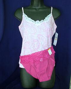 New sz S LAUREN Camisole Morgan Taylor Bikini Panties pink combo Small