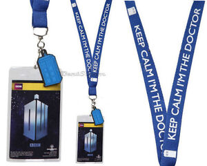 NEW BBC Dr Who Keep Calm I'm the Doctor Tardis All Over Lanyard Charm ID Holder