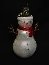 NOS Glass Snowman Frosty Handmade Xmas Tree Ornament Rhinestone Sequin Faux Gem