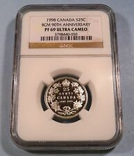 1998 25c CANADA NGC PF 69 ULTRA CAMEO SILVER QUARTER PROOF 90th ANNIVERSARY RCM