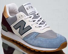 New Balance 670 Hergestellt IN UK Herren Weiß Grau Blau Freizeit Turnschuhe