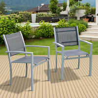 Outsunny Set of 2 Outdoor Mesh Seat Bistro Chairs Patio Dining Chair Stackable