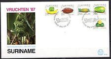 Suriname - 1987 Fruits - Mi. 1235-39 clean unaddressed FDC