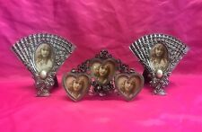 Set of 3 Vintage Silver Metal Ornate Enesco Picture Photo Frame - L@K