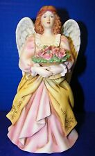 "Homco Figurine 7 1/2"" Tall Angel W/ Basket of Pink Flowers 8806 Mothers Day Gift"