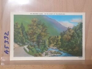 Linen post card view in the Heart of the Mountains