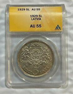 1929 Latvia 5 Lati Silver Coin ANACS AU55 ~~ Low Mintage ~~