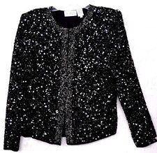 Scala Sz M Medium Black Beaded Silk Jacket Blouse Top Gold Sequins Glimmer EUC