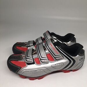Specialized Womens 7.5 BG Mountain Bike Cycling Shoe Sliver Red Cleats 2 Bolt