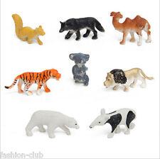 8Pcs/Set Plastic Simulation Zoo Mini Tiger Wolf Fox Camel Animal Kids Toys Gift