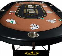 10 Player Poker Table Texas Holdem Folding Portable Casino Felt Top Cushioned