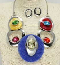 Silver and Multi Colored Necklace Set